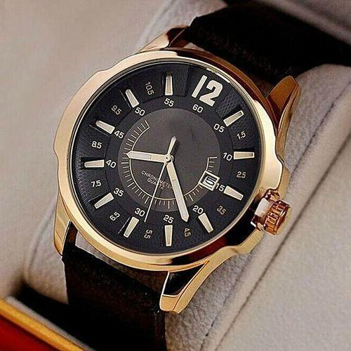 W644 - Leather Analog Watch For Men - Black