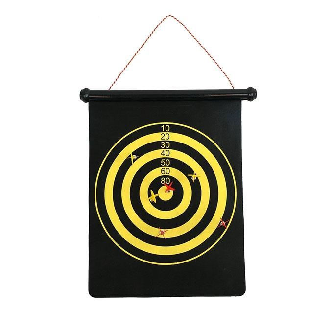 Magnetic Roll-Up Dart Board And Bulls Eye Game For Baby - Black and Yellow