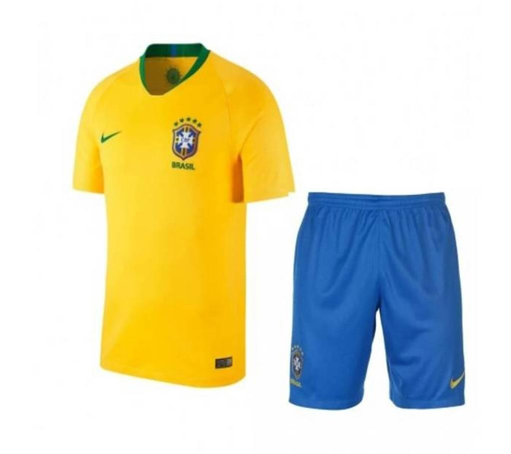 Polyester Short Sleeve Brazil World Cup Home Jersey with Pant – 2018 – 150  GSM 6f3020259