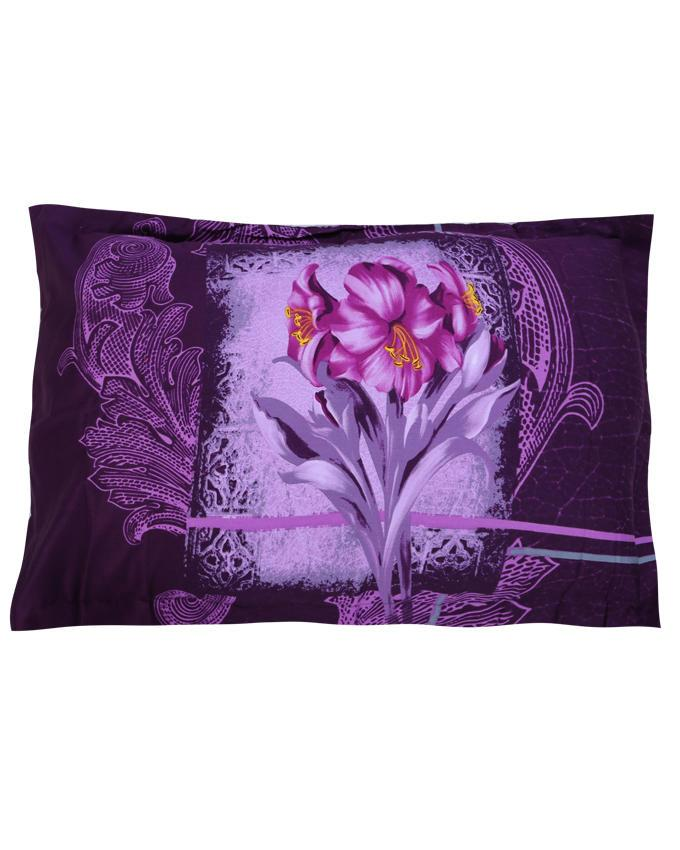 Cotton Printed Bed Sheet - Purple