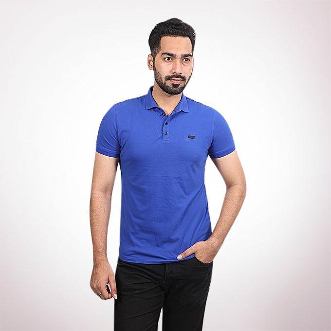 Tanjim Cotton Casual Short Sleeve Polo - Blue