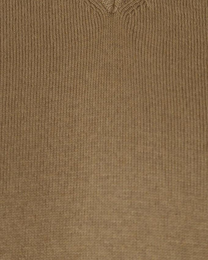 Cotton  Casual Long Sleeve Cashmere Mix Sweater - Khaki
