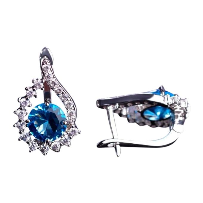 Blue CZ Diamond Earrings for Women