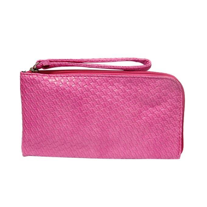 Magenta PU Leather Clutch For Women