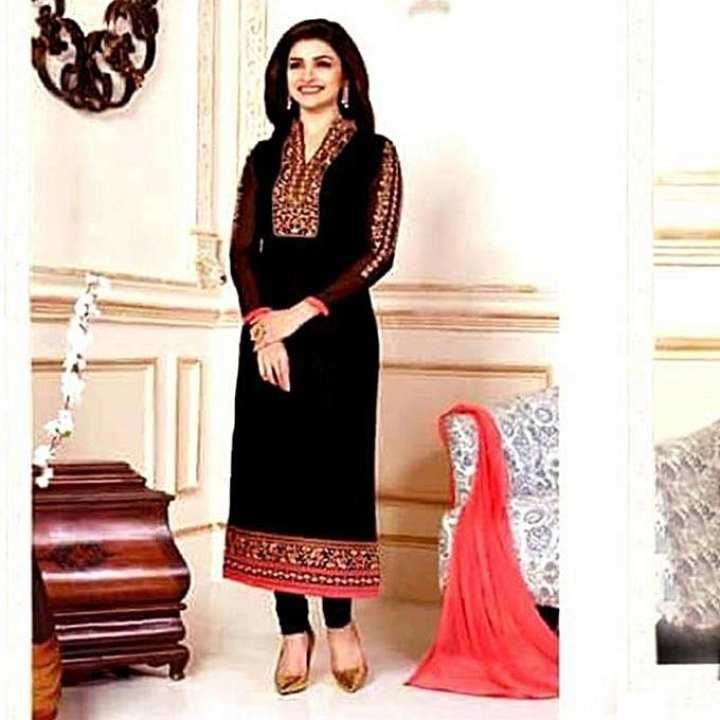 Black Unstitched Cotton Block Printed Salwar Kameez