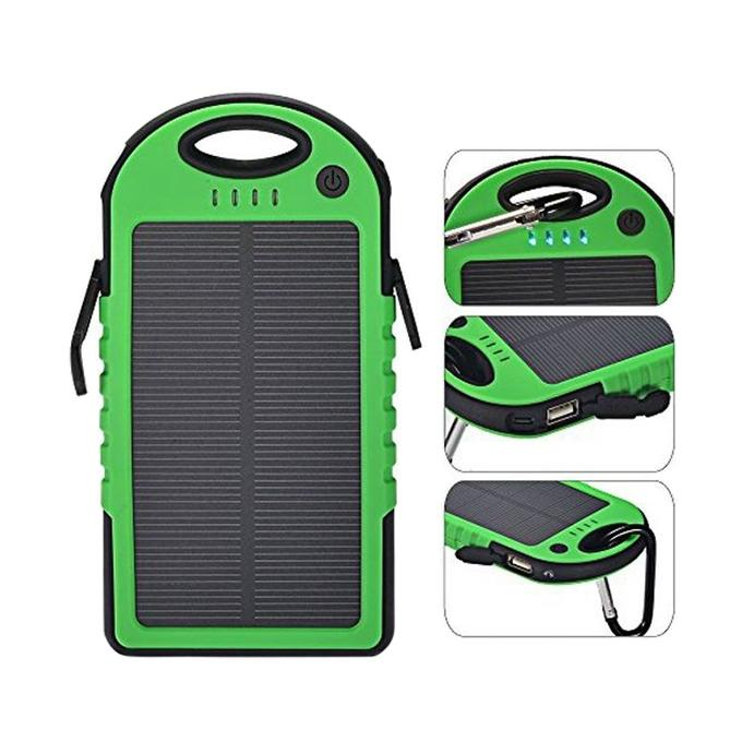 Solar Power Bank - 5000mAh - Black and Green