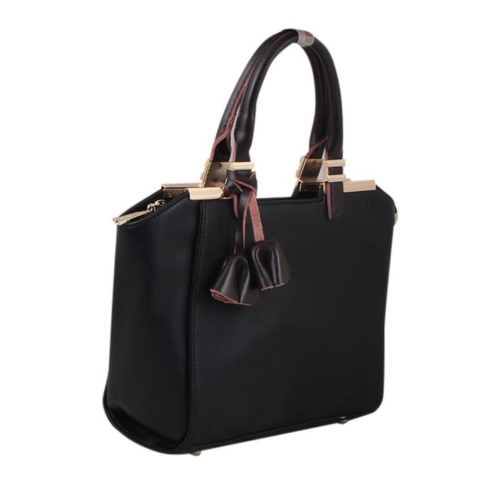 Black PU Leather Hand Bag For Women