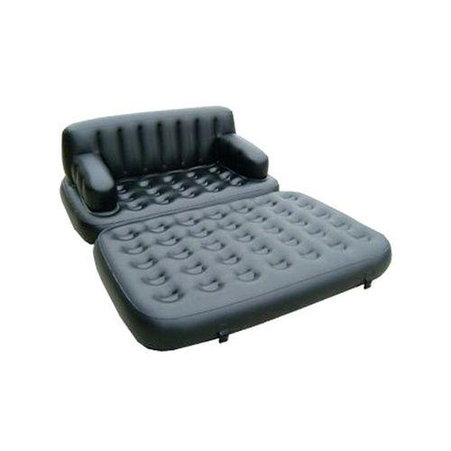 5-In-1 Inflatable Double Air Bed Cum Sofa - Black