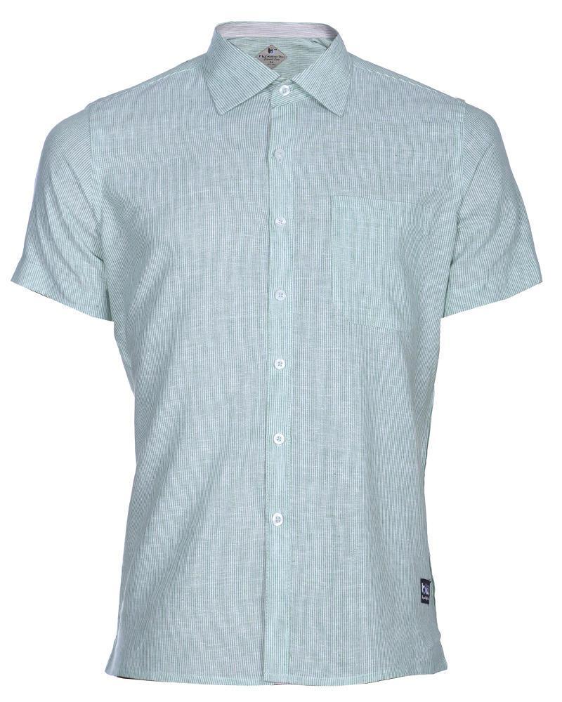 Linen Casual Short Sleeve Shirt - Blue Stripe