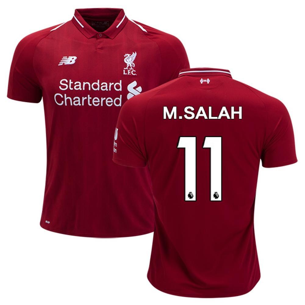 ef5ce5abbcaa M. Salah 11 Liverpool 2018 19 Home Jersey Mesh Cotton - Short Sleeve