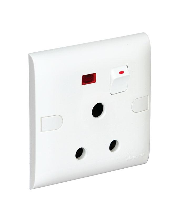 Safe Series Safe 3 Pin Round Socket With Switch Neon - White