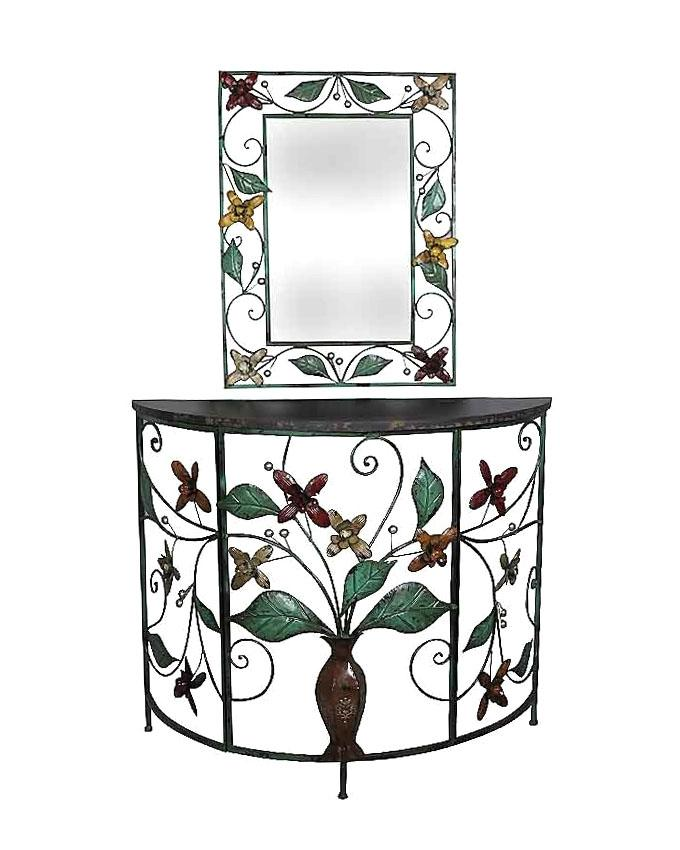 Foyer Table & Rectangular Shaped Antique Mirror Set - Black and Green