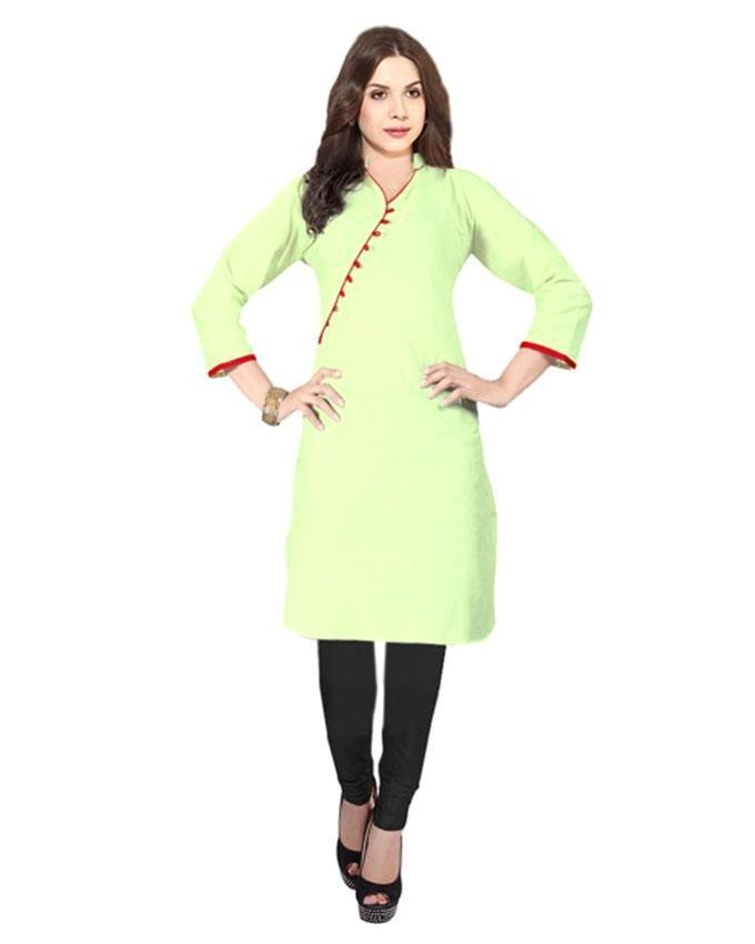 Light Cyan Linen Kurti for Women (Tailor Made)