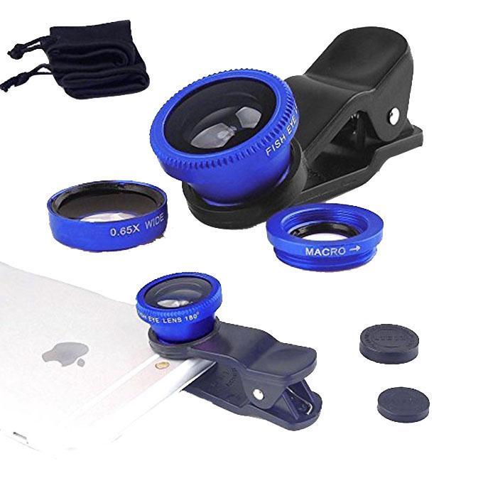 3-In-1 Clip Lens Camera for Smartphones - Blue