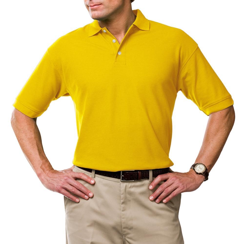 Yellow Cotton Casual Polo For Men