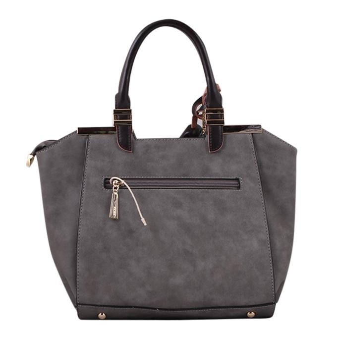 Slate Gray PU Leather Hand Bag For Women