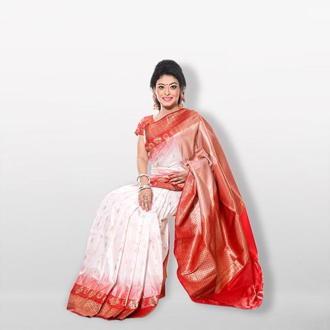 White -  Katan Silk & Jori Saree For Women