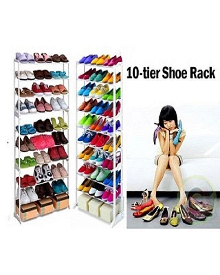 10 Tier Shoe Rack - Silver