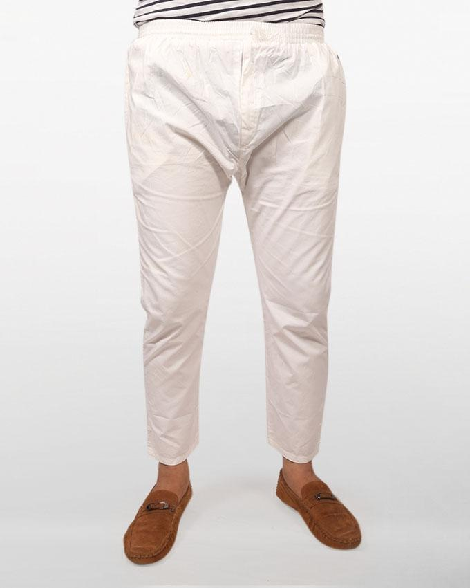 White Cotton Narrow Pajama for Men