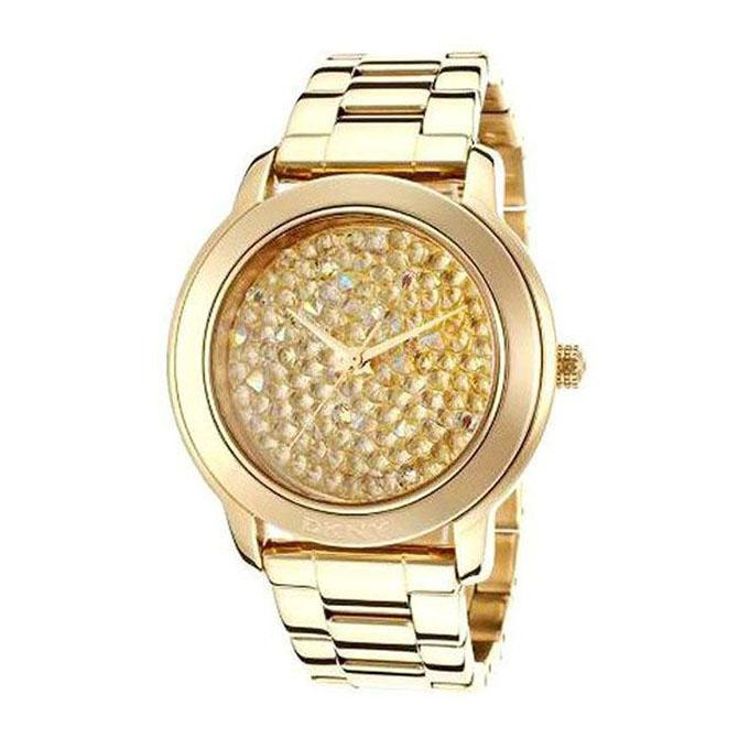 Stainless Steel NY8437 Crystal Dial Bracelet Analogue Watch For Women - Gold-tone