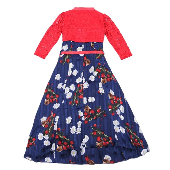Navy Blue and Red Cotton Casual Dress For Girls