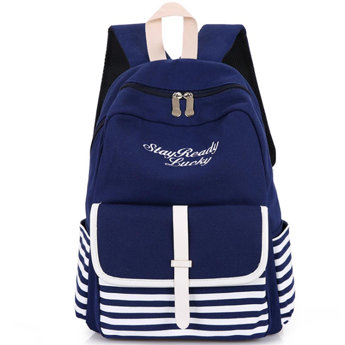 Navy Style Canvas Backpack Casual Travel School Shoulders Bag - Dark Blue + White