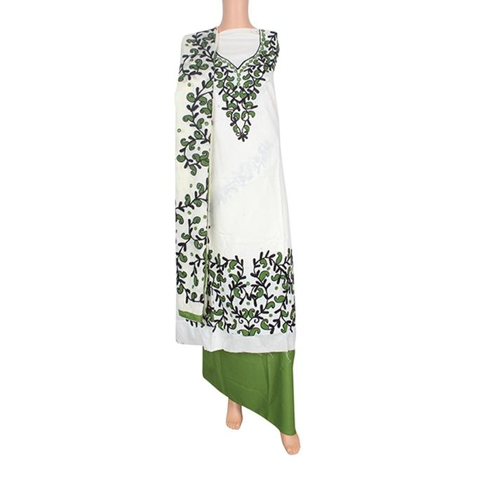 White and Green Unstitched 3 Pcs For Women