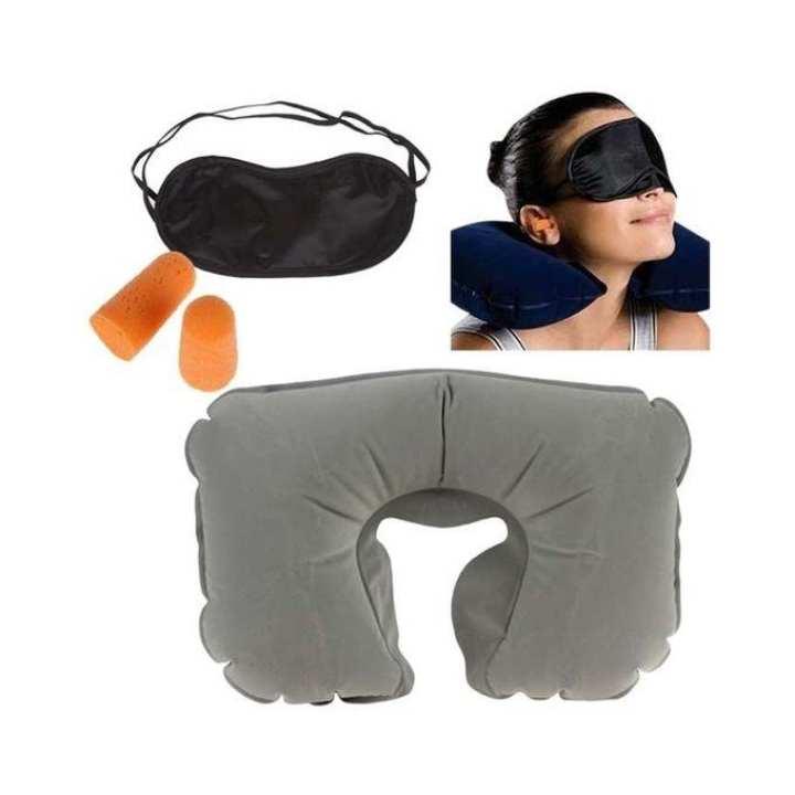 3 In 1 Travel Selection - Neck Pillow, Earplug, Eye Cover - Grey