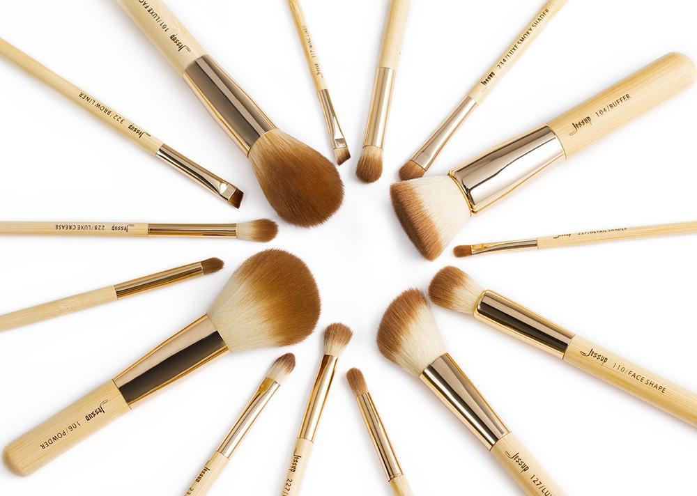 T140 15 PCs Bamboo Series Brush Set - Golden