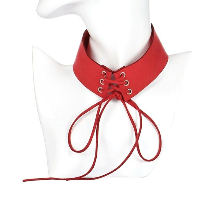 Red Ribbon Zinc Alloy Pendant Necklace