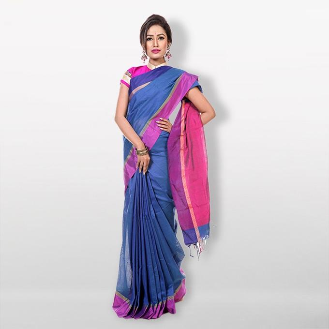Blue and Purple Cotton Saree for Women