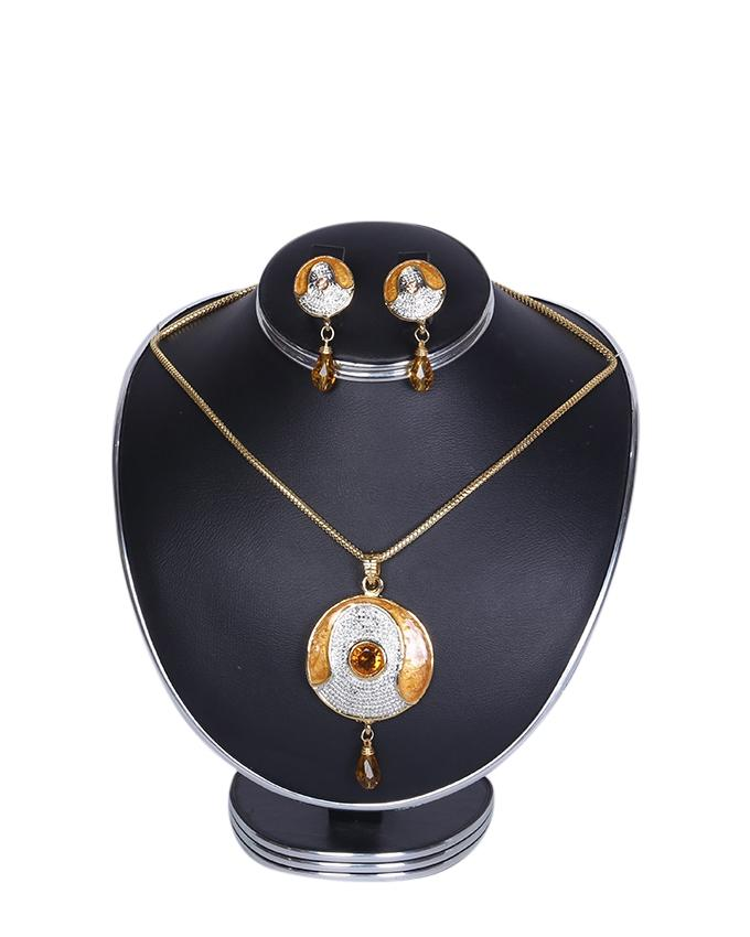 Diamond Cut Jewellery Set For Women - White and Orange