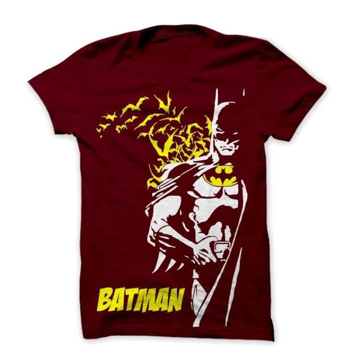 Maroon Cotton Batman T-shirt For Men