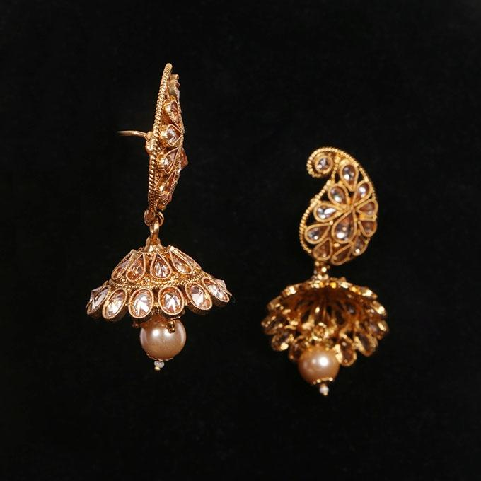 Golden Coppar And Stone Jewellery Set For Women