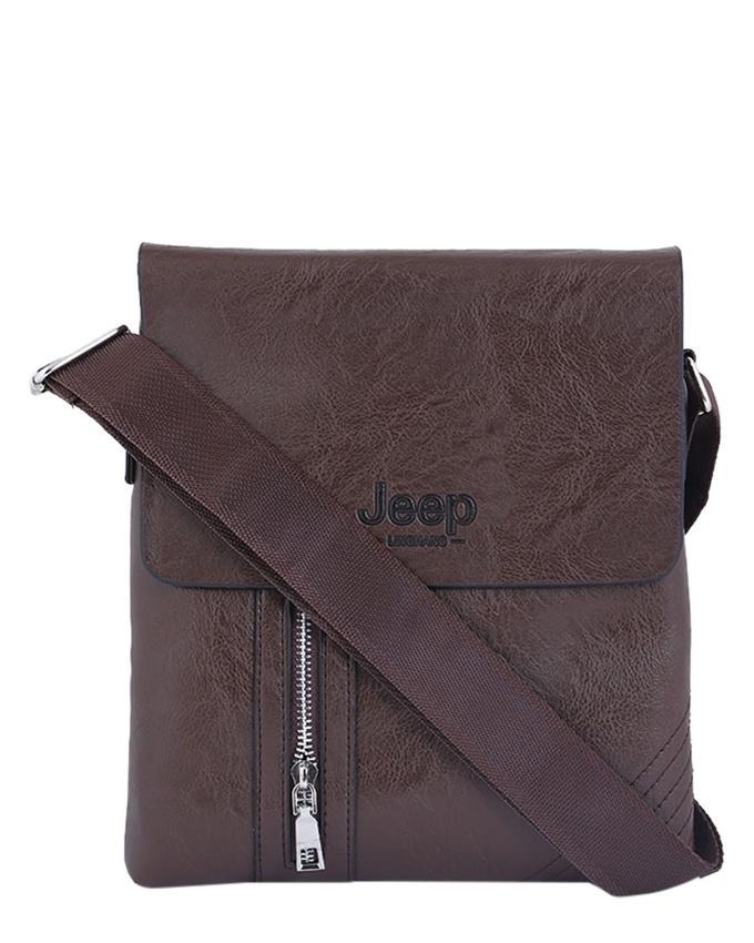 PU Leather Messenger Bag For Men - Chocolate