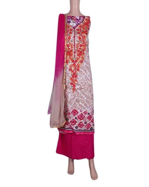 Unstitched Shalwar Kameez For Women - Tan and Pink