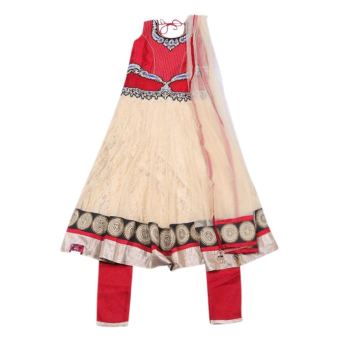 Red and Cream Georgette Casual Salwar Kameez For Girls