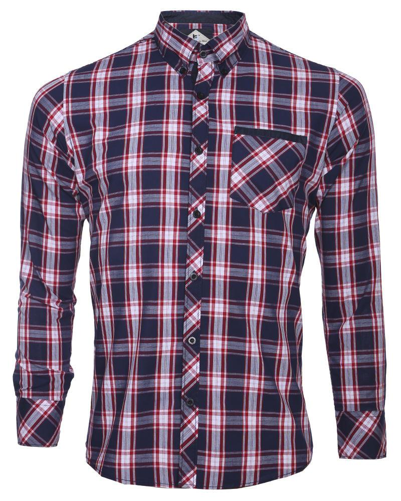 Cotton Casual Shirt - Red and Blue