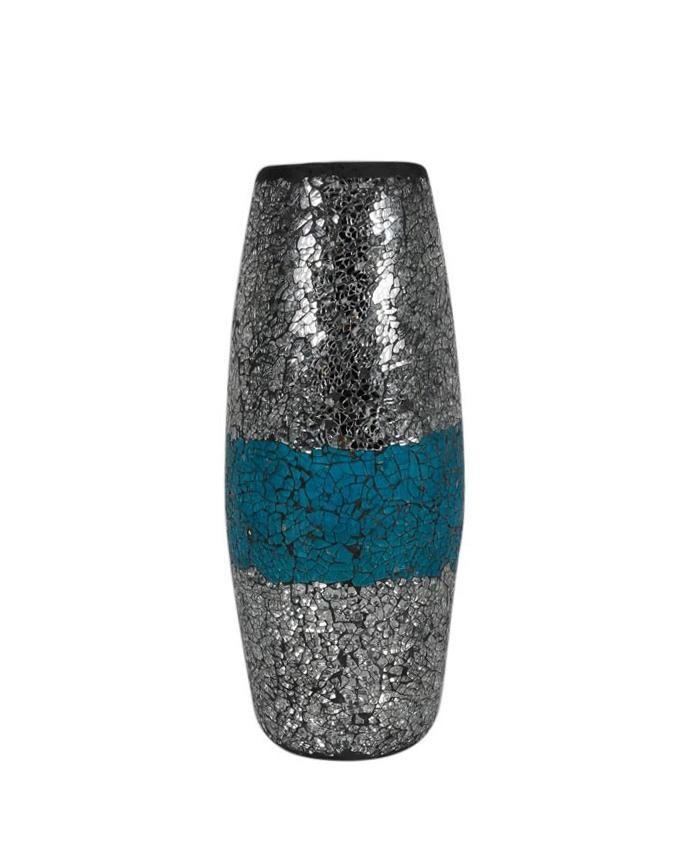 Mosaic Glass Mosaic Vase - Silver and Blue