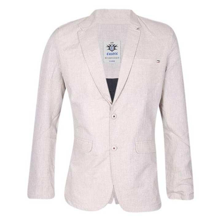 Light Pink Cotton Casual Blazer For Men