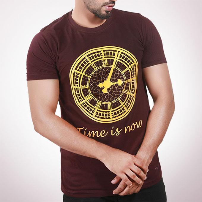 Chocolate Cotton T-Shirt For Men