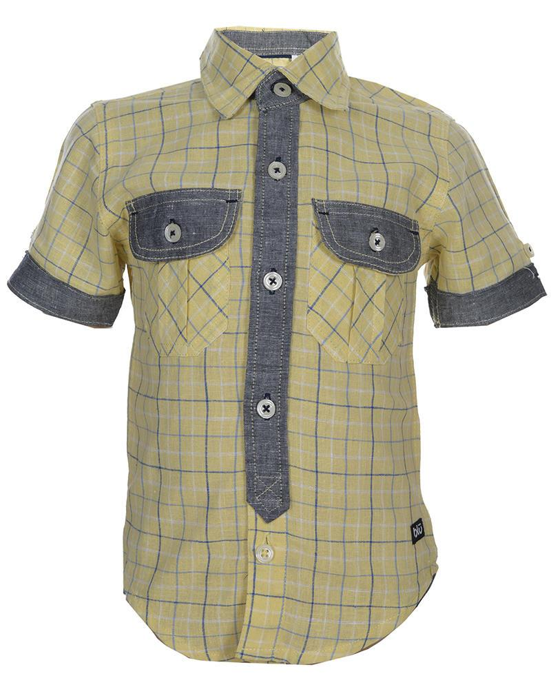 Boys Cotton Short Sleeve Shirt - Yellow