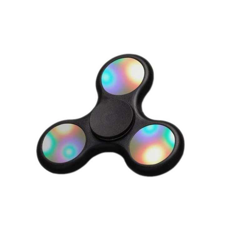 LED Light Up Push Button Switch Fidget Spinner Stress Reducer Toy - Black