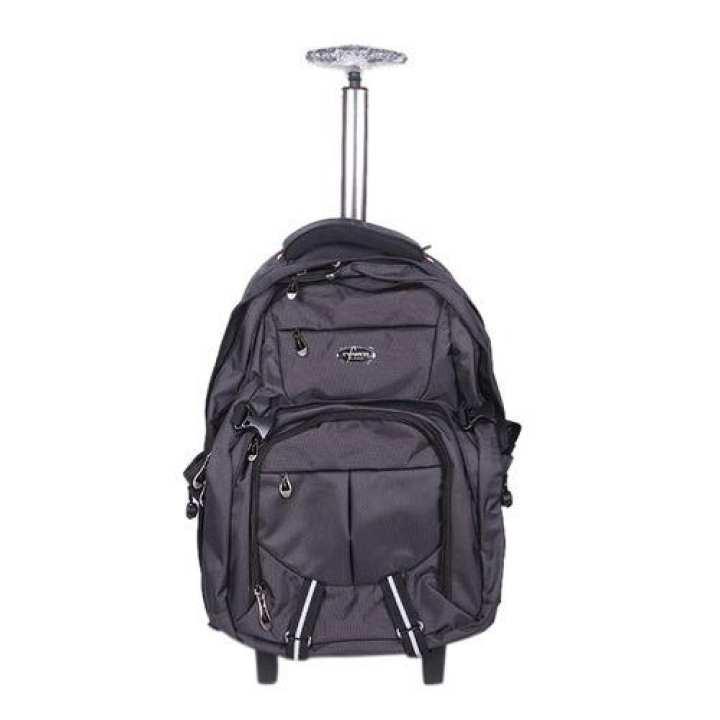 Dark Gray Polyester Trolley Bag For Men