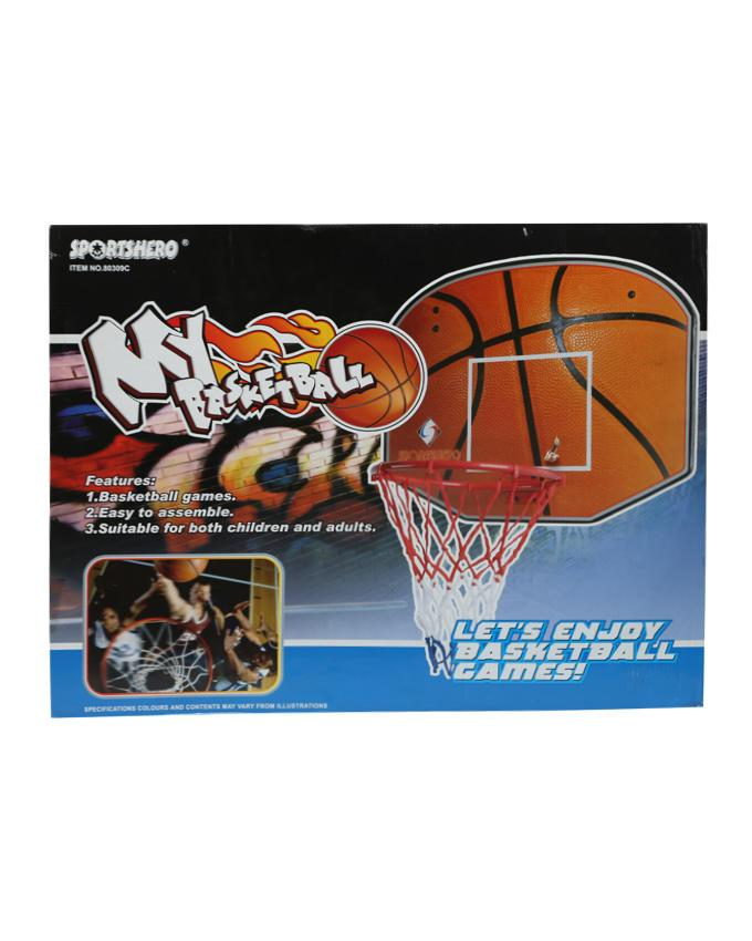 Basketball Board with Net - Red and White