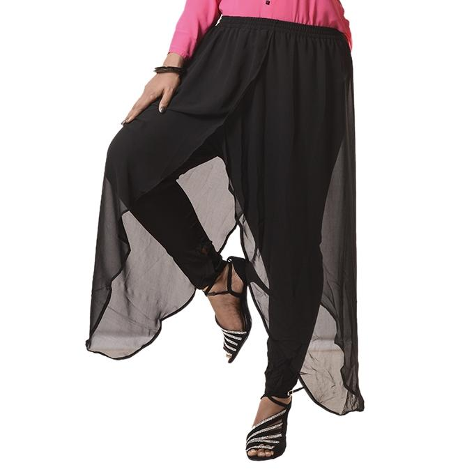 Black Double Georgette Palazzo For Women