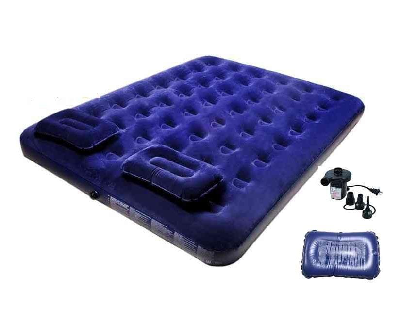 Air Double Bed With 2 Pillow - Blue