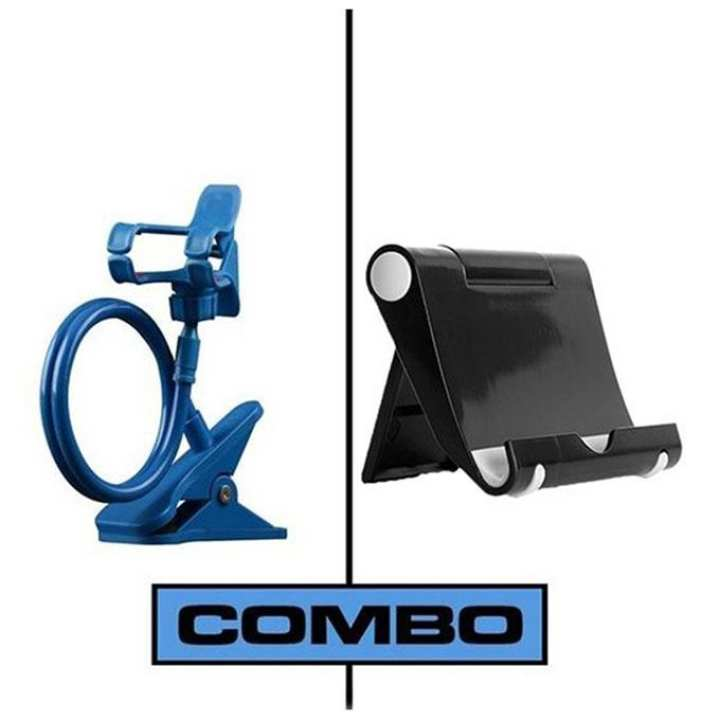 Combo of Multi Mobile Tablet Stand & 360 Long Stand - Black and Blue