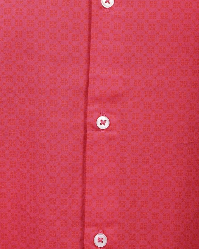 Pink Cotton Long Sleeve Tanjim Shirt For Men