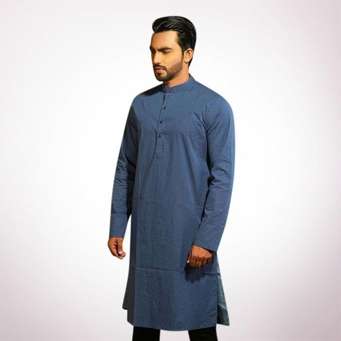 Navy Blue Cotton Panjabi for Men